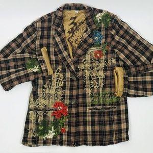 Johnny Was 3J Workshop Embroidered Plaid Jacket